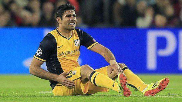 Diego Costa se lesionó en el partido de ida contra el Barcelona/ EFE