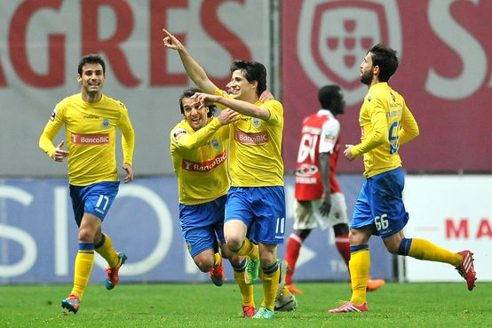 Cristian Ceballos celebra su gol ante el Sporting de Braga/ C. Ceballos