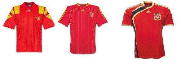 Camisetas de la selección española de 1993, 2006 y 2009