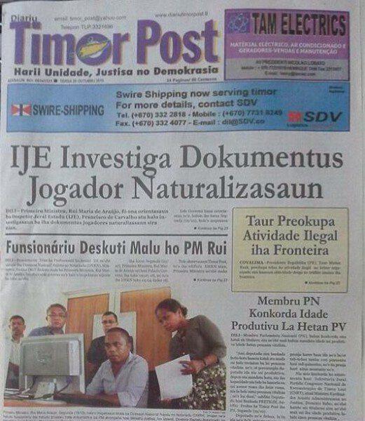 La prensa timorense se hizo eco de la investigación auspiciada por el gobierno/ Timor Post