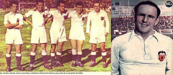 La delantera valencianista de la época y Gorostiza/ Archivo RFEF
